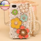 3D Iphone 4s 4g 4 Bling Pearl Flower Hard Case Verizon4 at&t