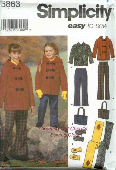PANTS JACKET SCARF MITTENS Child 7-14 Sewing Pattern 5863