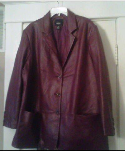 Women's Leather Blazer-Wine/Burgandy