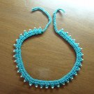 Necklace Teal crocheted choker beaded