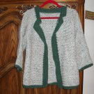 wool sweater jacket gray crocheted