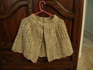 Handmade cape shawl capelet crocheted wool