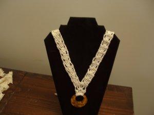 Necklace Crochet White Pendant
