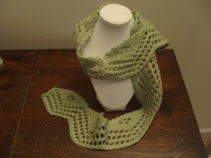 Scarf Knit Green Lace acrylic