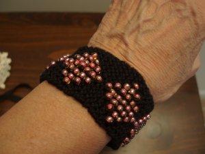 Knit Bracelet Black and Coral