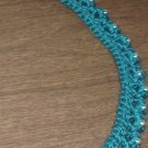 Blue Merino Necklace Crocheted with Silver Beads