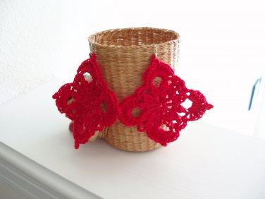 Large Red crocheted earrings