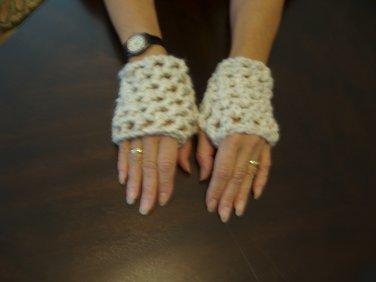 Handmade crocheted fingerless gloves, wristers wool