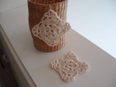 Handmade crocheted earrings with silver ear wire