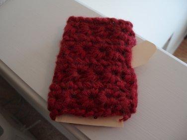 Fingerless Gloves, garnet, crocheted mohair