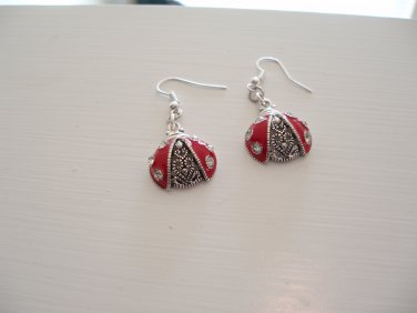 """Ladybug good luck earrings with """"crystal"""" accents"""