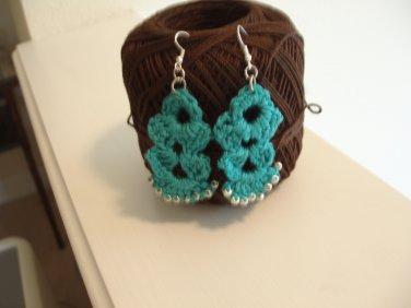 Long crocheted beaded earrings