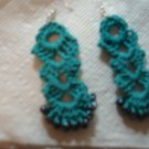 Teal, blue, earrings with black beads