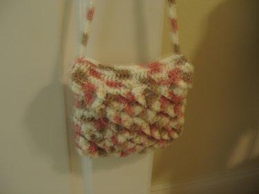 Cute crocodile purse crocheted pink, white, beige