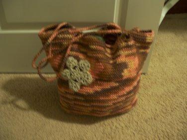 Cotton crocheted bag purse tote satchel