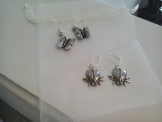 Butterfly and Insect Silver earrings with lever back