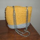 CLEARANCE! grey yellow crocheted purse tote with chain straps