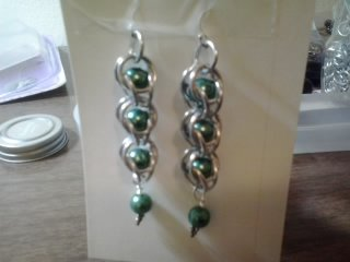 Byzantine style chain maille earrings with teal pearls
