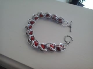 Byzantine  chain maille bracelet with coral stone beads