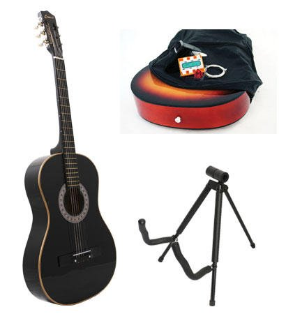 Black Acoustic Guitar + Stand + Case + Strap + Tuner + Pick