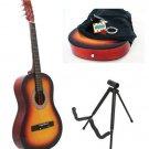 Sunburst Acoustic Guitar + Stand + Case + Strap + Tuner + Pick