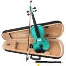 Green Acoustic Violin Full Size 4/4 + Bow + Case + Rosin