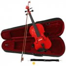 Red Acoustic Violin Full Size 4/4 + Bow + Case + Rosin
