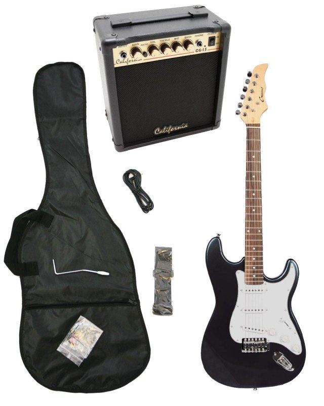 Black Electric Guitar + 15w Amp + Gig Bag + Cord + Whammy Bar + Strap + Picks