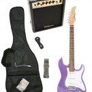Purple Electric Guitar + 15w Amp + Gig Bag + Cord + Whammy Bar + Strap + Picks