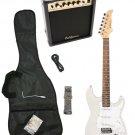 Silver Electric Guitar + 15w Amp + Gig Bag + Cord + Whammy Bar + Strap + Picks