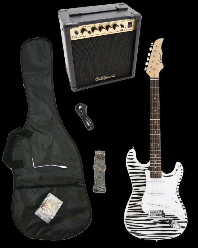 Zebra Electric Guitar + 15w Amp + Gig Bag + Cord + Whammy Bar + Strap + Picks
