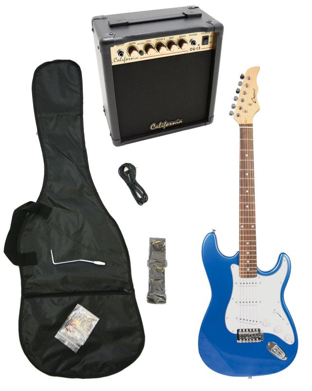 Blue Electric Guitar + 15w Amp + Gig Bag + Cord + Whammy Bar + Strap + Picks