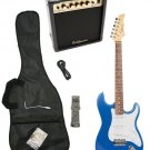Blue Electric Guitar + 15w Amp + Gig Bag + Cord + Whammy Bar + Strap + Picks