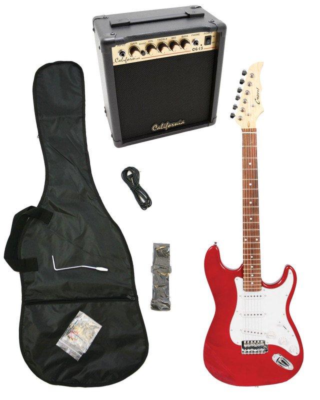 Red Electric Guitar + 15w Amp + Gig Bag + Cord + Whammy Bar + Strap + Picks