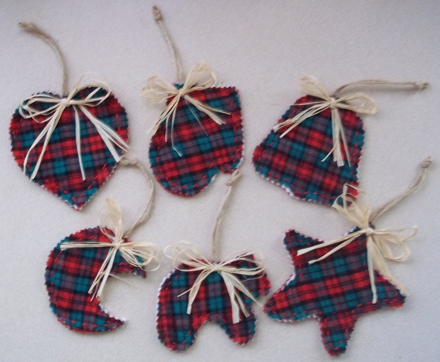 Set of six North Woods Christmas Ornaments red and green wool and felt