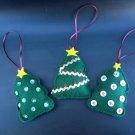 Set of three felt Christmas tree ornaments handmade