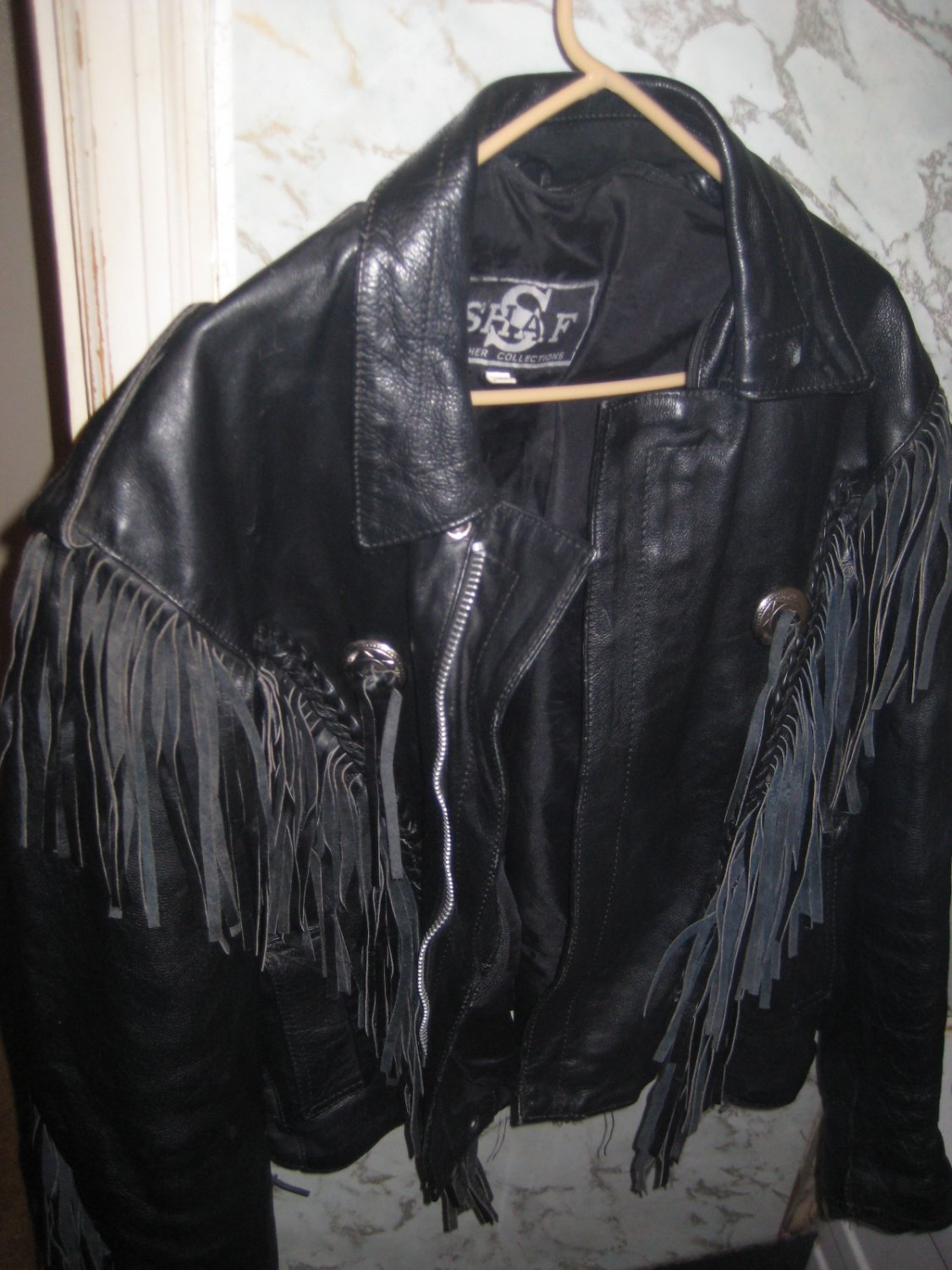 Leather Biker Jacket-size 44