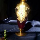 Glass vase, handpainted, red with gold embellishments