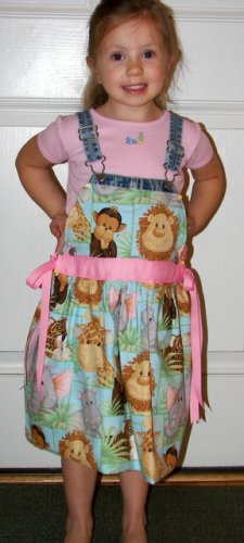 Custom Boutique OSHKOSH Animal Dress Sz 24mos/2T with Free Doll