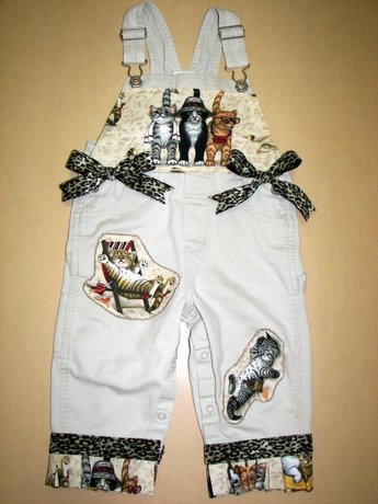 One-Of-A-Kind Custom Boutique Cats At The Beach Overalls Sz 24mos