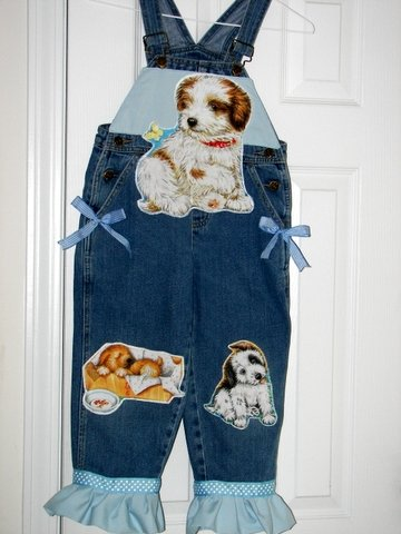 One-Of-A-Kind Custom Boutique Puppy-Love Overalls Sz 5