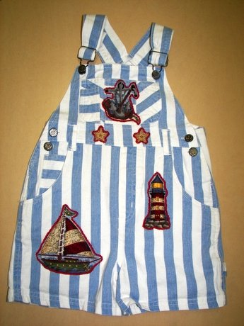 Adorable One-of-a-kind Nautical Shortalls Sz 5/6