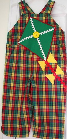 Adorable One-of-a-kind Plaid Kite Overalls Sz 3T