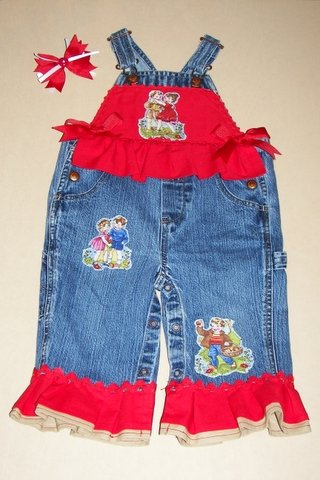 One-Of-A-Kind Sweethearts-Themed Overalls with Matching Hair Bow Sz 12-18mos