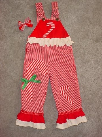 Adorable One-of-a-kind Candy Cane Overalls Sz 4T