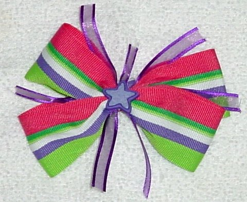 Multi-Color Striped Star Hair Bow