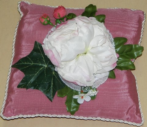Mauve Moiré Pillow with Peony Flower