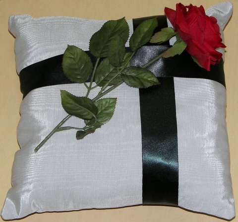 Silver Moiré Pillow with Red Rose