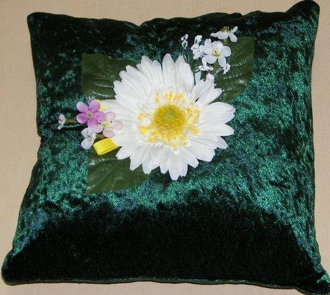 Dark Green Crushed Velvet Pillow with Daisy