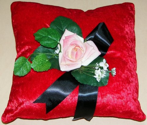 Red Crushed Velvet Pillow with Pink Rose